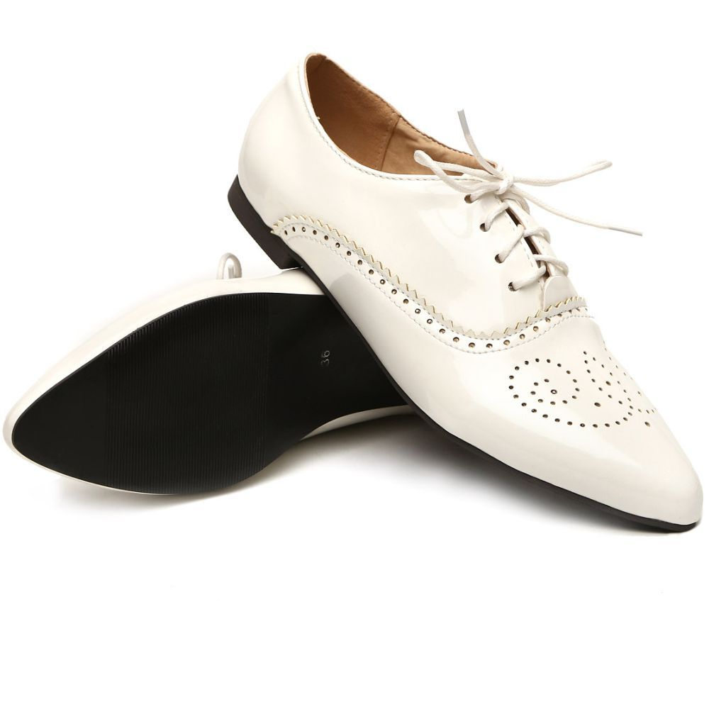 2015 Brand New Fashion Women Glossy Oxfords Black Blue White Female  Brogue Shoes Low Heels ASP51-5 Plus Big Size 32 43 10