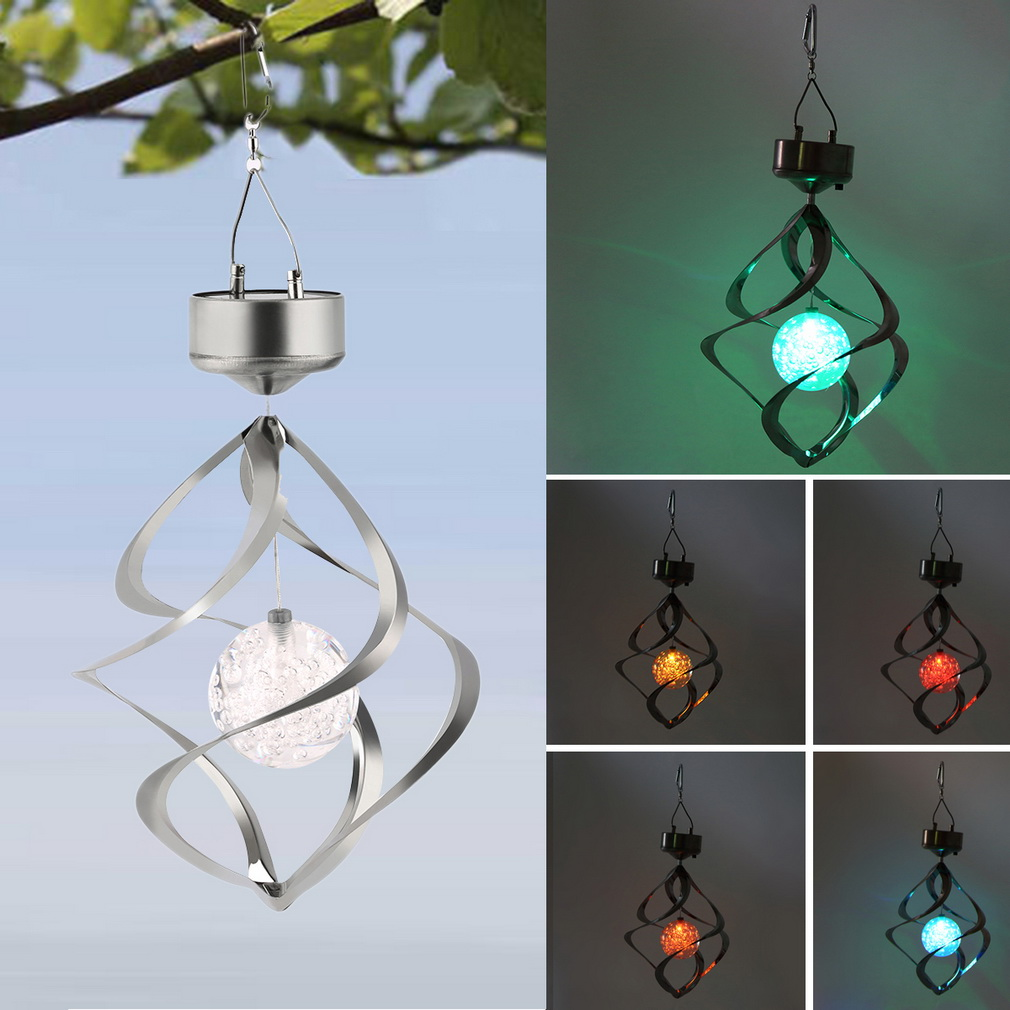 New Color Changing Solar Powered LED Wind Chimes Wind Spinner Outdoor Hanging Spiral Garden Light Courtyard Decoration(China (Mainland))