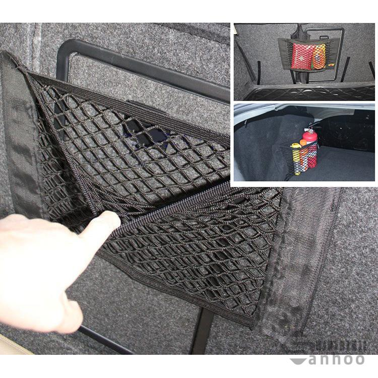 Car styling Auto Back Trunk Rear Mesh Net Storage Bag Sticker Hook Organizer Coche Sundries Elastic String Resilient Pouch Cage(China (Mainland))