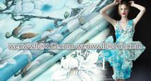 Designer 100% pure natural mulberry silk chiffon fabric white and blue 1meter X066(China (Mainland))