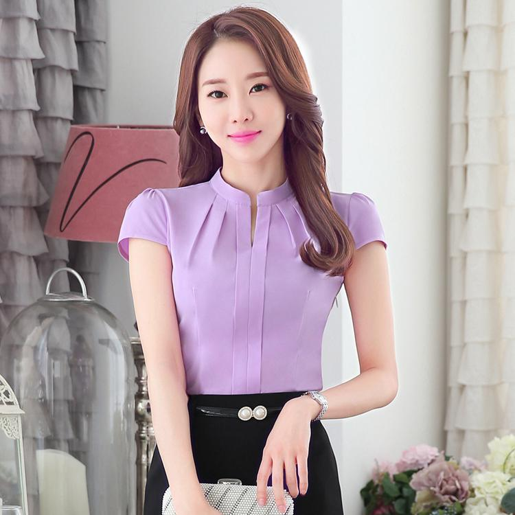 2016 Summer New Dressed Shirt Women work Short Sleeve Stand Collar Simply Solid Color Shirt Blouse Business Wear Formal Lady OL(China (Mainland))