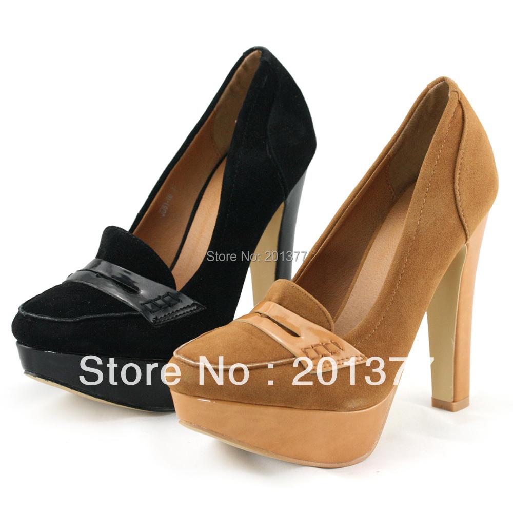 shoezy vintage womens camel and black faux suede platform