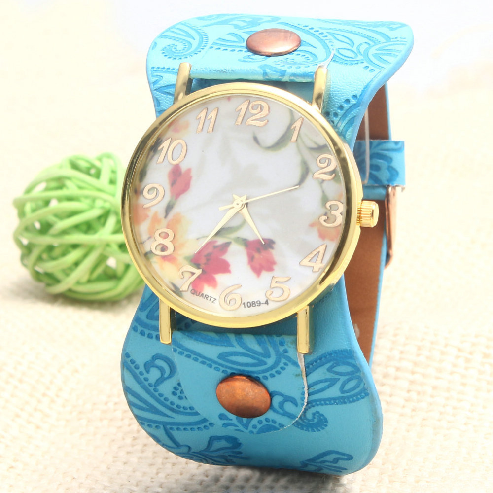 Fashion GENEVA Vintage Orchid Watches Casual Flower Watch Women Leather Quartz Dress Five Colors Choose - zhongqi yi's store
