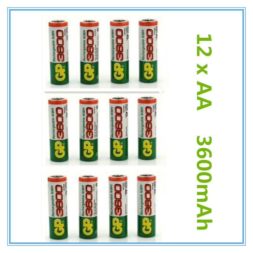 12pcs Brand New 2015 0riginal 4pcs Lot GP 1 2V NiMh AA 3600 mAh Battery Rechargeable