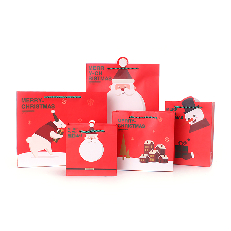 10pcs/lot 32.5cm*10cm*26.5cm Red Christmas Gift Packaging Bags With Handle(China (Mainland))