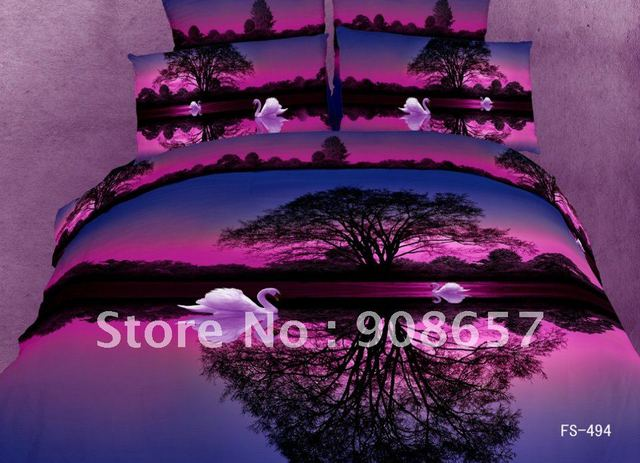 swan purple lake prints Egyptian cotton bedding sets duvet quilt covers sets 4pc for bedroom Queen/full comforter home textile