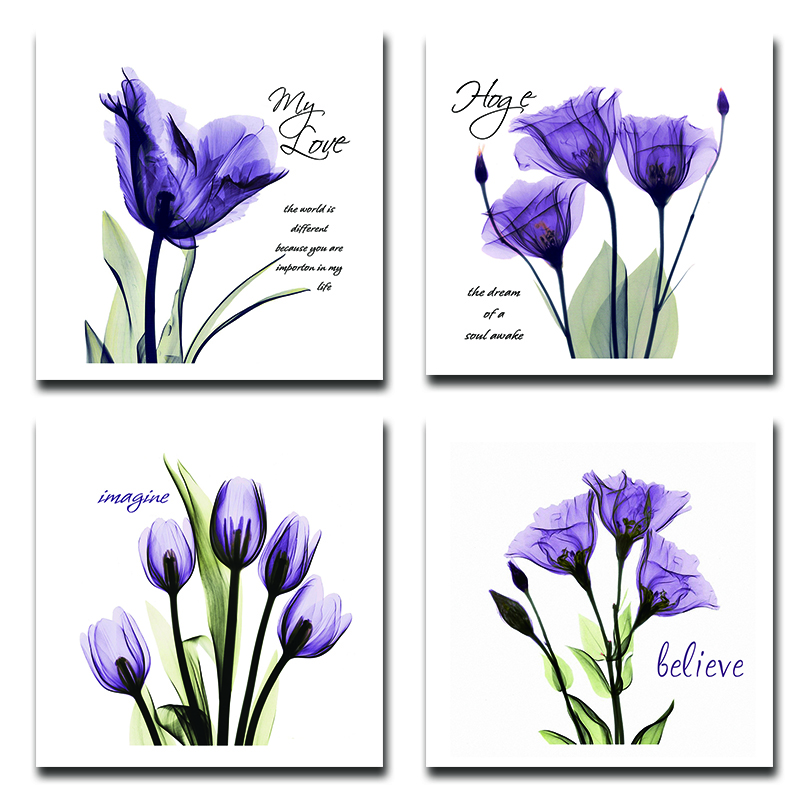 BANMU 4Pcs/Sets Huge Modern Giclee Prints Artwork Love Hope Purple Flowers Pictures Photo Paintings Print on Canvas Wall Art(China (Mainland))