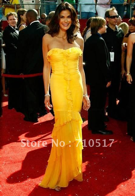Free shipping custom The latest yellow strapless tassel pattern floor length sheath fishtail Grammy star/Celebrity Dress