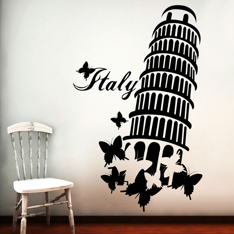 Italian Wall Art For Living Room : Italy leaning tower wall sticker living room butterflies