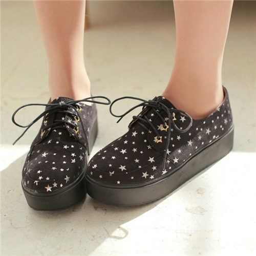 Vintage British 2016 New Spring Autumn Stars Printing Flat Platform Creepers Lace Casual Comfort Oxfords Shoes Punk Retro