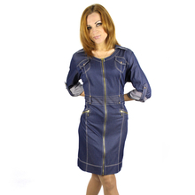 2016 Women Soft thin Denim Dress Casual cardigan Half Roll Sleeve Elegant women vestidos plus size 2xl 5xl 6xl  3300(China (Mainland))
