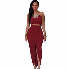 Buy Front High Split Women Dress 2 Piece Set Women Two Piece Outfits Sleeveless Summer Maxi Party Dresses Long Vestido Longo S2583 for $14.39 in AliExpress store