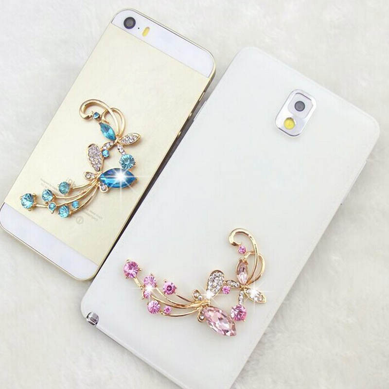 1Pcs Newly Stylish Butterflies Love Flowers Mobile Phone Sticker Crystal Simulated Diamond Decoration Stickers Decals(China (Mainland))
