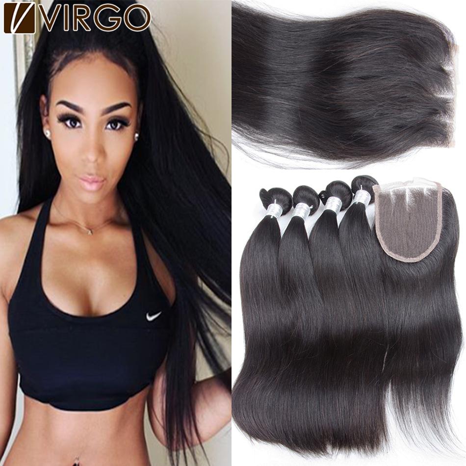Здесь можно купить  Peruvian Virgin Hair Straight With Lace Closure Peruvian Straight Hair Weave Bundles 1pc Lace Closure With 3/4Bundles Human Hair  Волосы и аксессуары