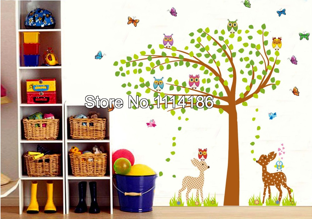 Classroom Decoration Ideas Tree ~ New large butterfly owl tree vinyl wall sticker decals for