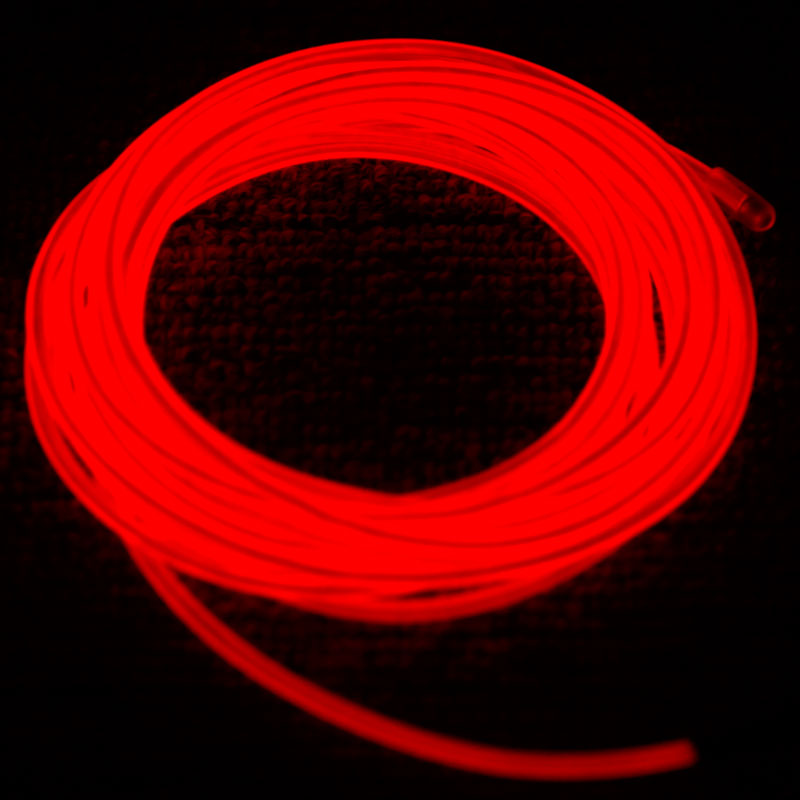 High Quality Red Color EL Products 3M Flexible Neon Light EL Wire LED Strip Red with Controller(China (Mainland))