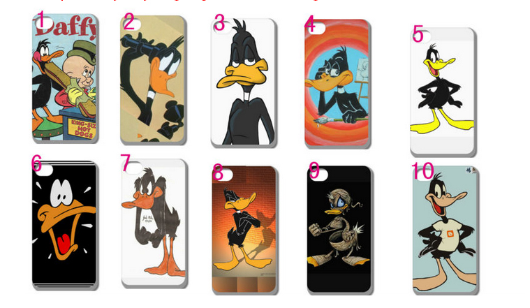 wholesale Cartoon Daffy Duck white hard cases for iphone 4 4s + free shipping(China (Mainland))