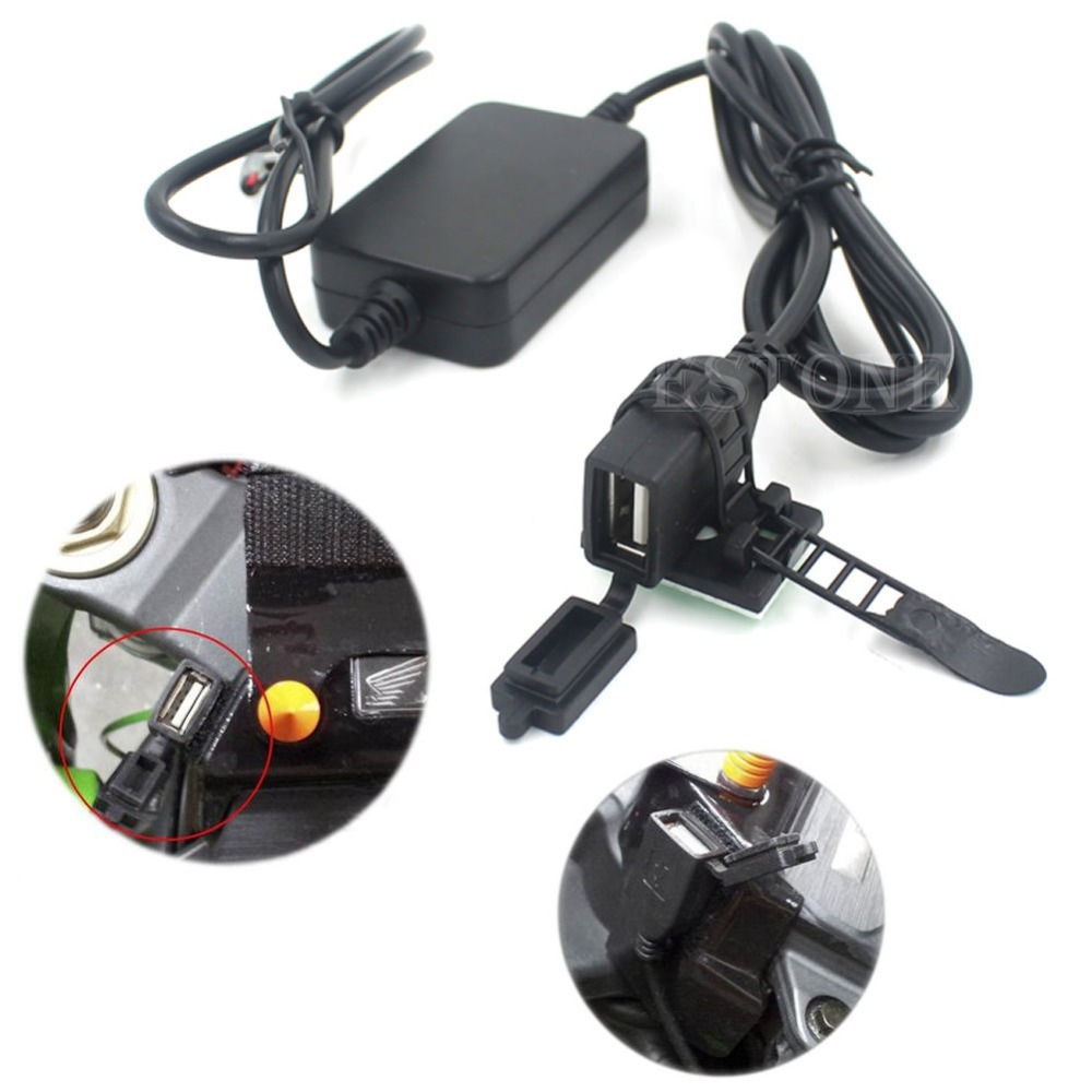 Free shipping USB Powerport 12V 2.1A Dual Charger for Smartphone iPhone Android GPS Motorcycle(China (Mainland))