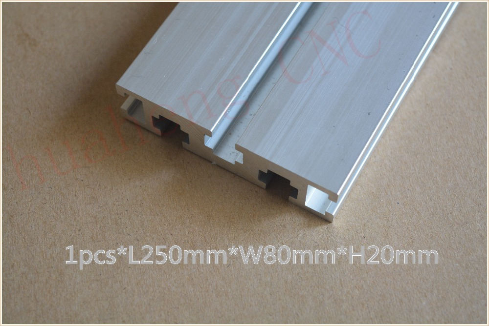 1pcs 2080 aluminum extrusion profile length 250mm width 80mm high 20mm industrial aluminum profile for cnc engraving machine(China (Mainland))