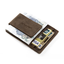 teemzone Men Genuine Leather Wallet Business Casual Credit Card ID Holder with Strong Magnet Money Clip(China (Mainland))