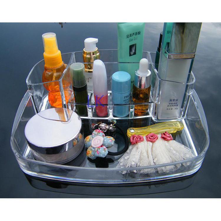women acrylic makeup organizer storage box 6 lattice clear jewelry plastic box basket make up organizer boxes MF-B020(China (Mainland))