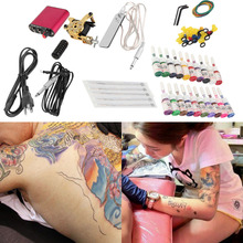 Professional tattoo kit New Tattoo Machines Gun Equipment Power Supply 20 Color Ink Cup Tattoo Set Body Beauty Tools(China (Mainland))