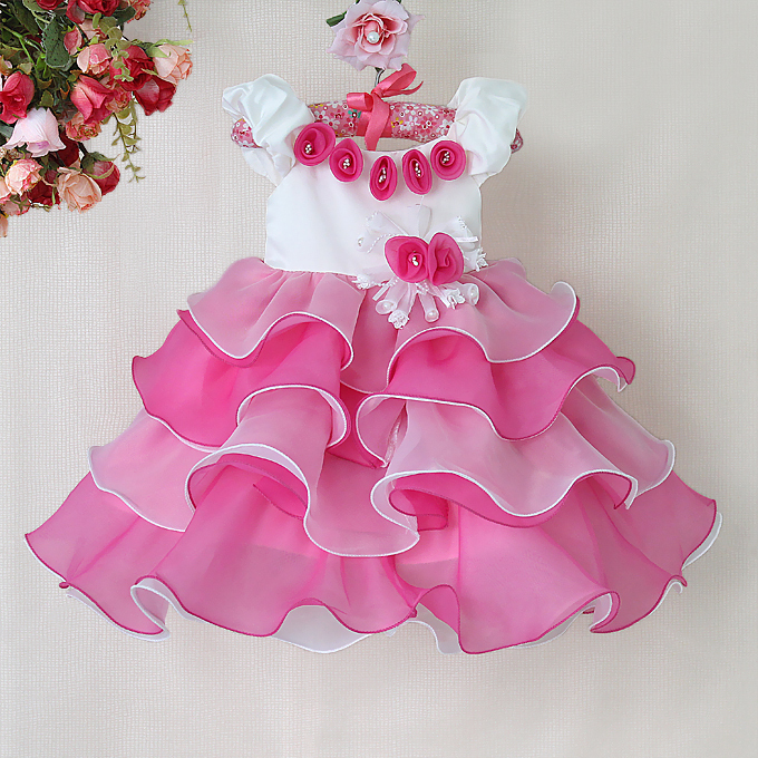Free shipping Children Girl Dress Bow flower rose Girl Formal Party Dress kids Clothing 0-4years<br><br>Aliexpress