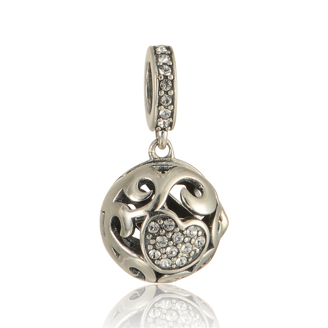 100% 925 - серебристо-ювелирные бусины открытое хрустальное в форме сердца Fit Chamilia пандора браслеты серебро 925 DIY
