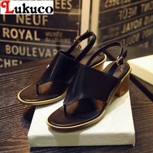 2016 EUR SIZE 40 41 42 43 casual women open-toed design sandals genuine leather shoes - LUKU CO. Store store