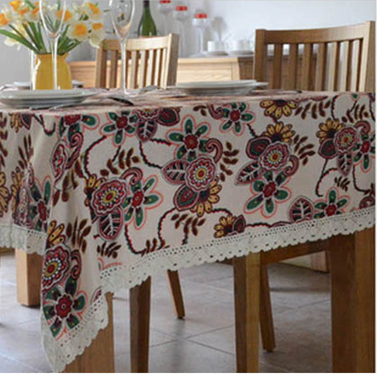 trendy pastoral exotic plants tablecloth cotton& linen lacework tablecloth restaurant table cover for picnic outdoor use#ZB0034(China (Mainland))