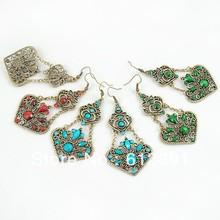 National Wind vintage earrings jewelry retro bronze plated flower earringsLM-E014(China (Mainland))