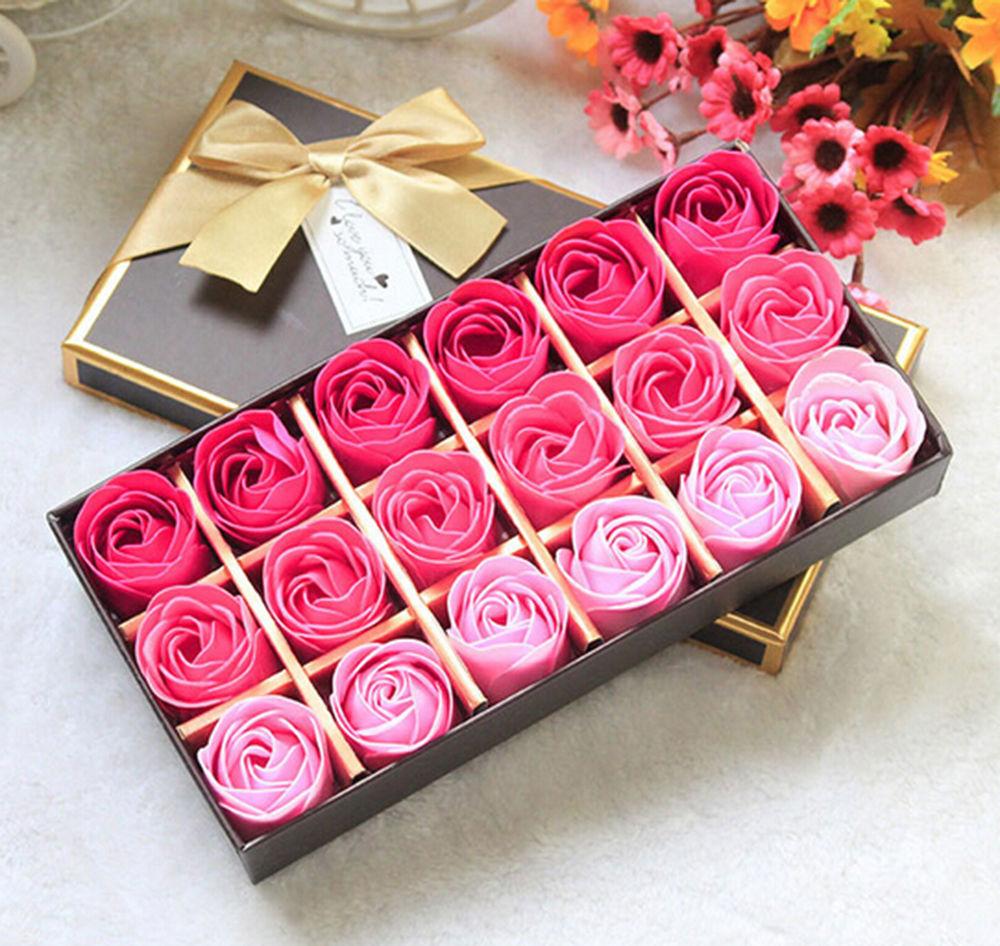 18Pcs Body Bath Soap Rose Petal Whitening Soap Wedding Decoration Party Gift