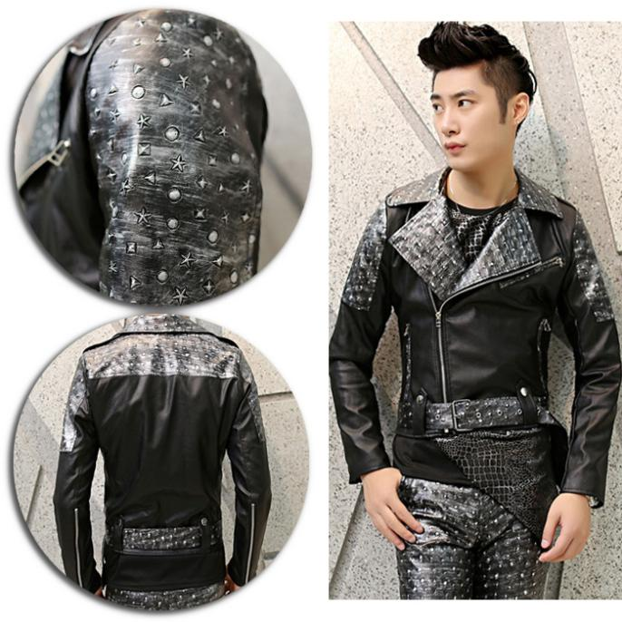 Men Casual PU Leather Jacket Unique Motocycle Biker Handsome Rock