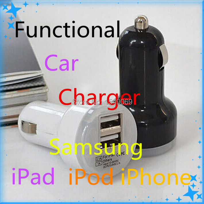 1Pcs Mini Plug Car Charger Micro Dual USB Car Charger Power Adapter Charger Mobile All Phone Charger Black White(China (Mainland))