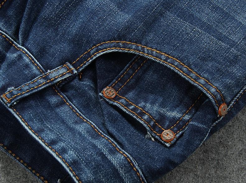 Скидки на Оптовая и розничная новая Мода отверстие разорвал узкие джинсы Потертые Мужчины прямо тонкий джинсовые разорвал прямые Тонкий брюки # TSE05