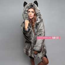 Women Hairy Shaggy Faux Fur Animal Prints Leopard Pattern O-Neck Jackets Warm Long Hooded Coat Outerwear 2015 New Fashion(China (Mainland))