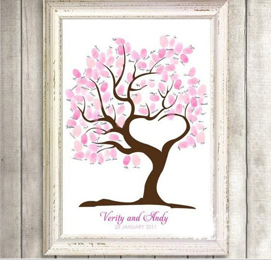 Fingerprint Tree Wedding Guest Book Fingerprint Canvas Painting Wedding Decoration Party 60x75CM 2015 Wedding Gifts Casamento(China (Mainland))