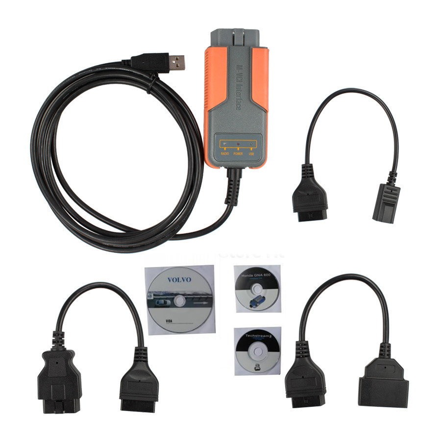 2016 Top-Rated newest version car diagnostic tool for toyota for v-lvo for honda xhorse mvci 3 in 1 V10.00.028(China (Mainland))