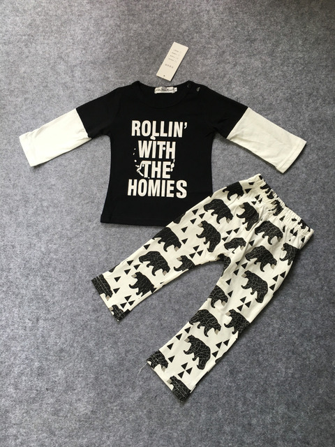 Autumn baby boys/girls cotton letter printed tops + pants 2pcs