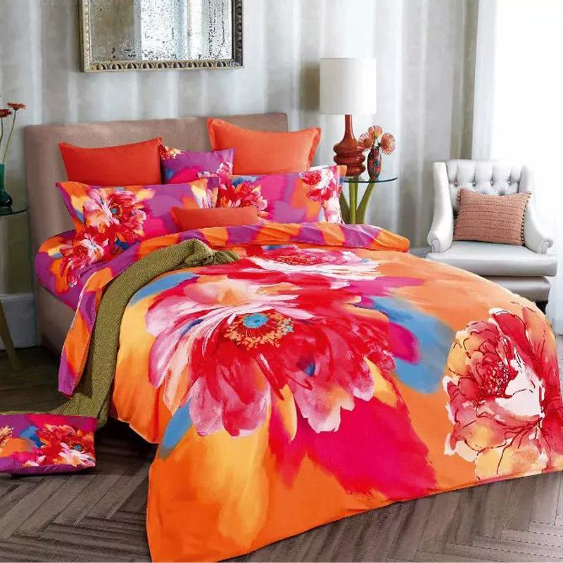 Watercolor red flower light purple and orange bedding set - Red and orange comforter sets ...