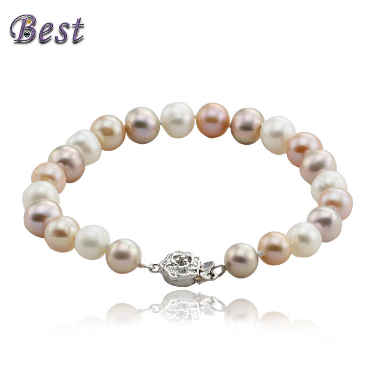100% real natural freshwater pearl bracelet mixed color cultured genuine pearl bracelet for woman(China (Mainland))