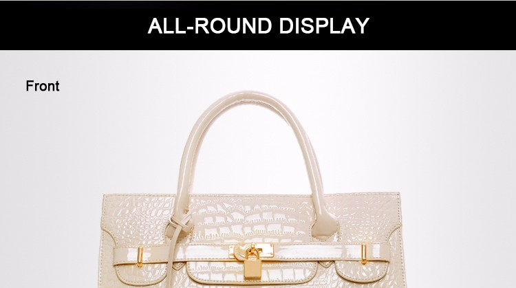 Luxury Designer Crocodile-print Handbag Classy Lock Belt Women Classy Elegant Hand Bag Lady Fashion High Quality PU Shoulder Bag