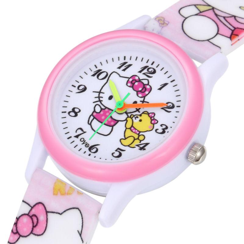 Cute Lovely Cartoon Hello Kitty Silicone Baby Clock Wristwatches Watch for Women Girls Female Student Children relogio feminino(China (Mainland))