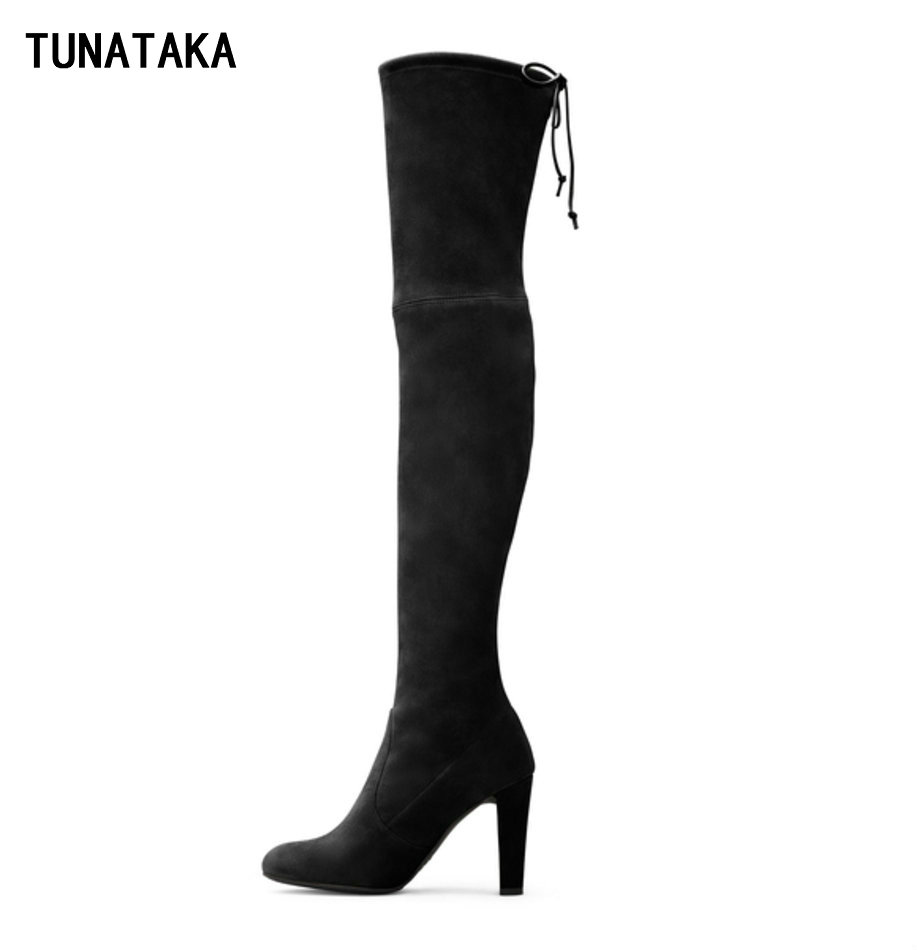 Women Suede Thigh High Boots Sexy Fashion Over the Knee High Boots Platform Chunky Heels Plus Size Shoes Woman Black Brown Grey(China (Mainland))