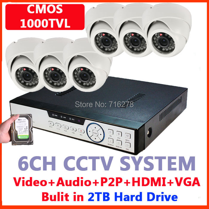 Home Security Camera System HDMI 1080P 8CH DVR Kit CMOS 1000TVL Indoor Dome Day Night IR Color Video System+2000GB HDD - Toppers store