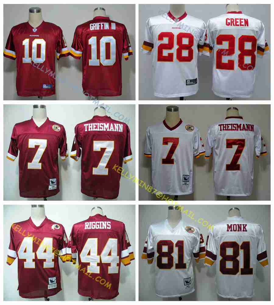 100% Stitiched,Washington Redskins,Robert Griffin III,Art Monk,John Riggins,Darrell Green,JOE THEISMANN,Throwback for men(China (Mainland))