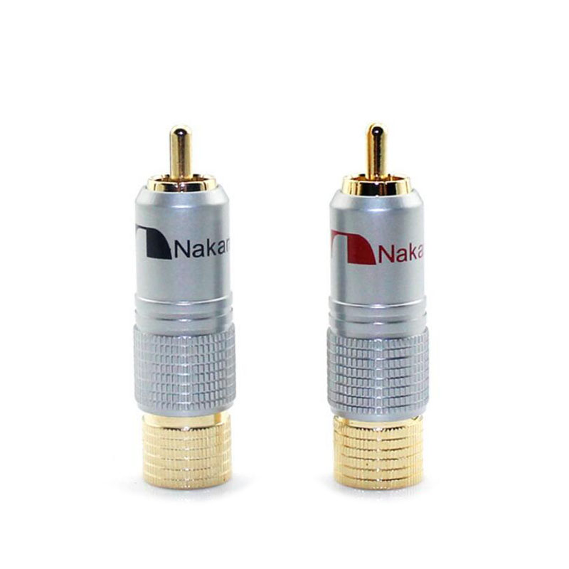 Gold Plated NAKAMICHI RCA Plug Locking Non solder plug connector free shipping(China (Mainland))