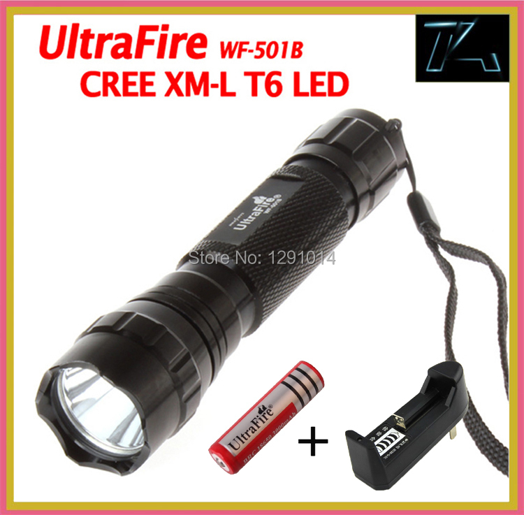 Гаджет  Hotest UltraFire WF-501B T6 Cree XM-L T6 1200 Lumens 5-mode LED Flashlight Torch+18650 Rechargeable battery +charger for outdoor None Свет и освещение