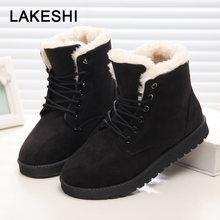 Kadın Kışlık Botlar Sıcak Kürk Kar Kadın Botları 2019 Yuvarlak Ayak Kış Kadın Ayakkabı Lace Up Süet Pamuk yarım çizmeler Artı boyutu 43(China)