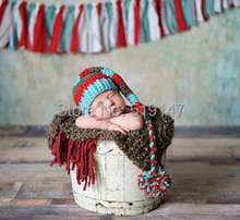Free shipping cute blue brown red Christmas elf baby style baby hat handmade crochet photography props newborn baby cap(China (Mainland))